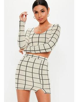 Petite White Co Ord Grid Print Mini Skirt by Missguided