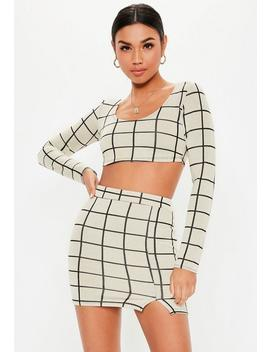 Petite White Co Ord Grid Print Crop Top by Missguided