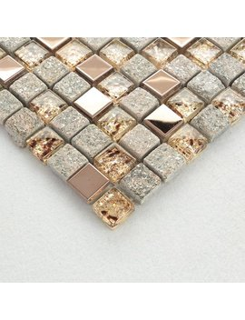 Gray And Rose Gold Kitchen Backsplash, Glass And Stainless Steel Mosaic Tile, Natural Stone & Metal Bathroom Wall Tiles, Shower Accent Tile by Etsy