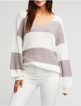 V Neck Color Block Knit Pullover by Charlotte Russe