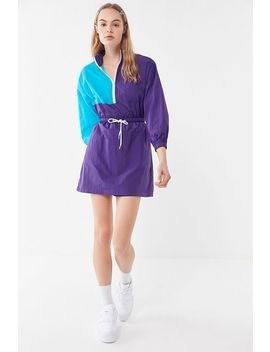 Uo Colorblock Nylon Half Zip Mini Dress by Urban Outfitters