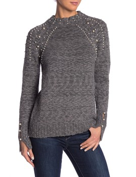 Long Sleeve Faux Pearl Detailed Mock Neck Sweater by Kensie