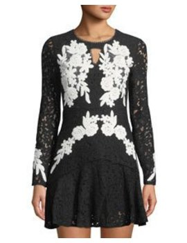 Contrast Lace Embroidered Fit & Flare Dress by Free Generation