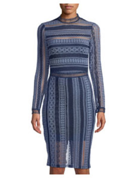 Mock Neck Lace Striped Midi Dress by Alexia Admor French Design