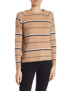 Cashmere Striped Crew Neck Pullover by Minnie Rose