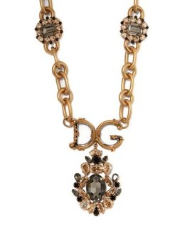 Crystal Embellished Logo Necklace by Dolce & Gabbana