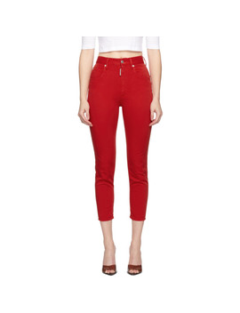 Red High Waist Cropped Twiggy Jeans by Dsquared2