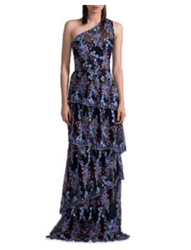 One Shoulder Floral Embroidered Tiered Evening Gown by David Meister