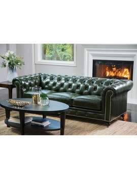 Abbyson Virginia Green Waxed Leather Chesterfield Sofa by Abbyson