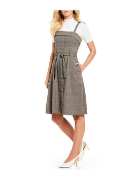 Cindy Button Front Belted Menswear Plaid A Line Dress by Gianni Bini