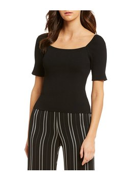 Claire Square Neck Knit Top by Gianni Bini