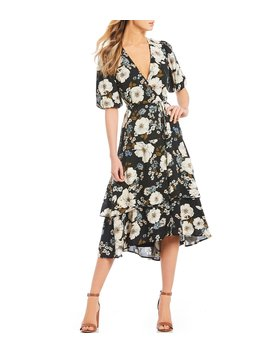 Piper Floral Print Midi Length Wrap Dress by Gianni Bini