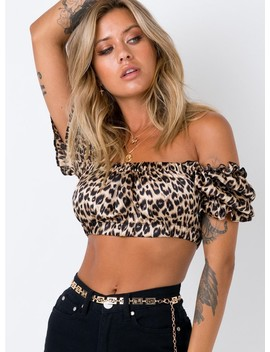 Sofia Crop Top Leopard by Princess Polly
