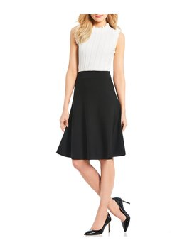 Kwan Ruffle Mock Neck A Line Dress by Antonio Melani
