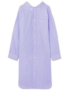Oversized Striped Cotton Poplin Shirt Dress by Balenciaga