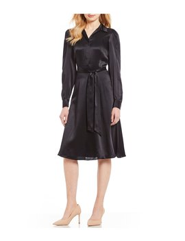 Mateo Tie Waist Silk Shirt Dress by Antonio Melani