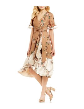 Kristy Floral Print Bell Sleeve Midi Length Wrap Dress by Antonio Melani