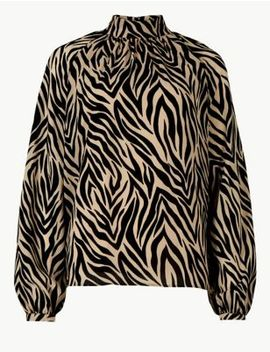 Animal Print High Neck Long Sleeve Blouse by Tracked Express Delivery: