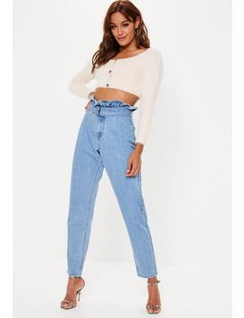 Blue Riot High Waist Paperbag Mom Rigid Jeans by Missguided