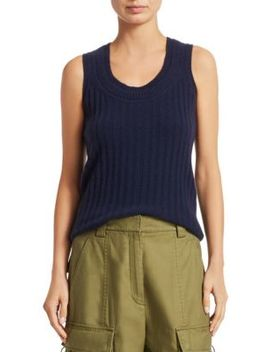 Double Scoopneck Rib Knit Cashmere Top by 3.1 Phillip Lim
