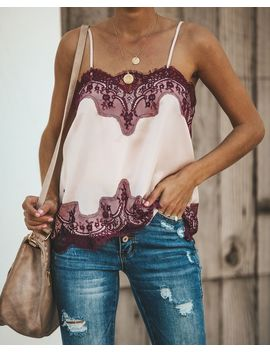 Collette Adjustable Lace Cami Tank   Nude/Wine by Vici