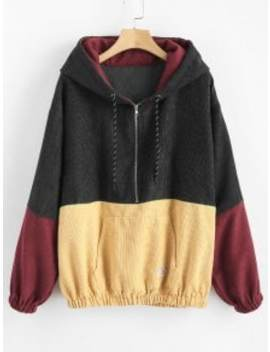 Front Pocket Contrast Corduroy Hoodie   Multi A M by Zaful