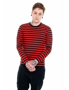 Mens Indie Retro 60's Black & Red Striped Long Sleeve T Shirt by Run & Fly