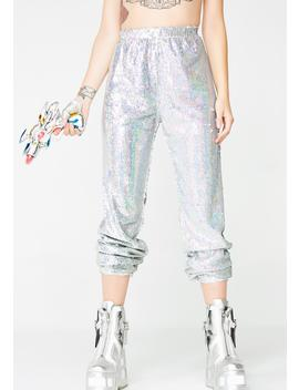 Holographic Sequin Joggers by Kuccia