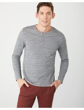 Long Sleeve Henley Heather T Shirt by Rw & Co