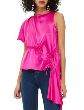 Asymmetrical Satin Blouse by Topshop