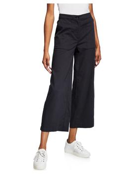 High Waist Cotton Twill Flared Leg Ankle Pants by Eileen Fisher
