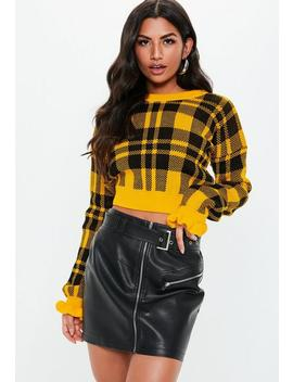 Yellow Check Frill Sleeve Knitted Jumper by Missguided