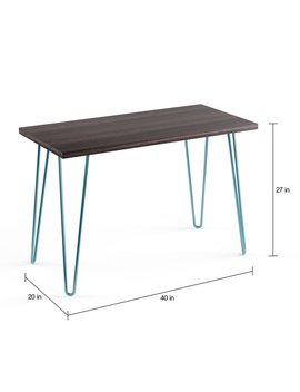 Carson Carrington Sveggen Espresso/ Teal Retro Desk by Carson Carrington