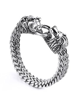 Mendino Mens Womens Heavy Lion Bracelet Stainless Steel Link Wrist Silver by Mendino
