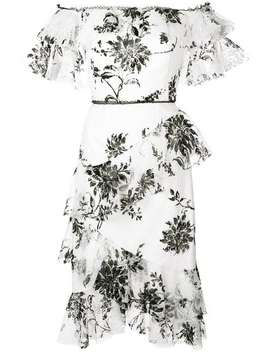 Off The Shoulder Floral Print Dress by Marchesa Notte