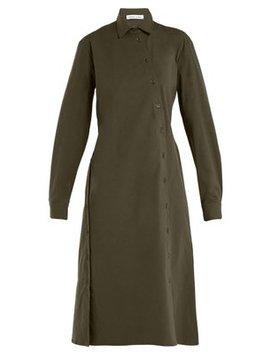 Asymmetric Buttoned Poplin Dress by Tomas Maier