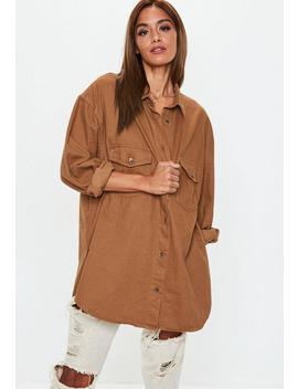 Premium Camel Super Oversized Boyfriend Denim Shirt by Missguided