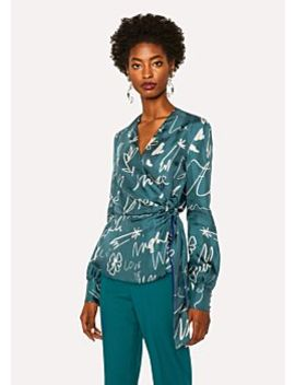 Top Femme Drapé Turquoise 'ideas Script' En Soie by Paul Smith