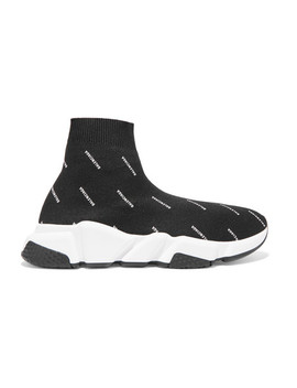 Speed Logo Printed Stretch Knit High Top Sneakers by Balenciaga
