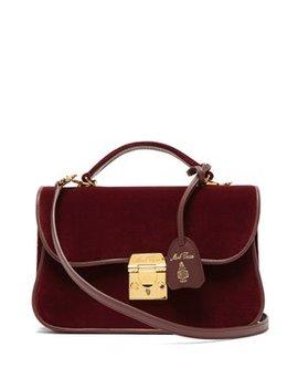 Dorothy Velvet And Leather Shoulder Bag by Mark Cross