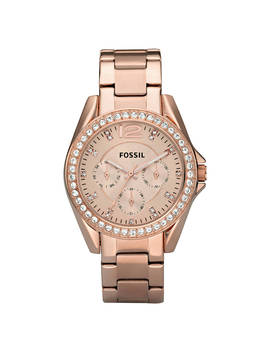 Fossil Es2811 Women's Riley Single Chronograph Bracelet Strap Watch, Rose Gold by Fossil