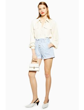 Stripe Denim Paperbag Shorts by Topshop