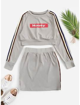 Raglan Sleeve Letter Crop Pullover And Striped Skirt Set by Shein