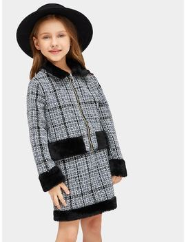 Girls Faux Fur Patched Zipper Up Tweed Coat & Skirt Set by Shein