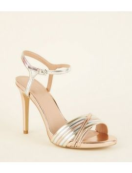Wide Fit Multicoloured Metallic Strappy Stiletto Heels by New Look