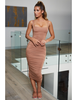 Can't Ruche Perfection Square Neck Midi Dress In Brown by Oh Polly