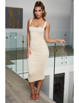 Can't Ruche Perfection Square Neck Midi Dress In Cream by Oh Polly