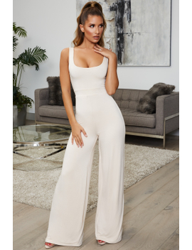 One And Only Scoop Neck Wide Leg Jumpsuit In Ivory by Oh Polly