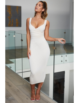 Simply Me Ruched Plunge Midaxi Dress In Oyster White by Oh Polly