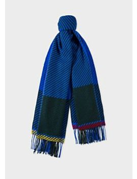Men's Cobalt Blue And Khaki Asymmetrical Check Wool Scarf by Paul Smith